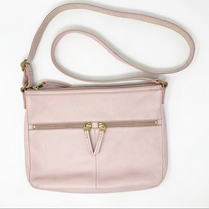 Fossil Light Pink Pebbled Leather Crossbody Bag